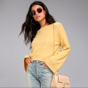 NEW PST Yellow Bell Sleeve Fuzzy Cropped Sweater